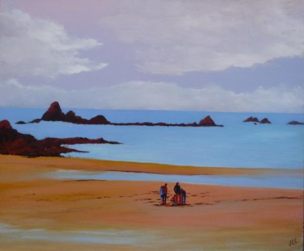 Un soir sur la plage - Huile 65 x 54