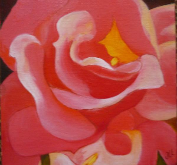 Coeur de rose -Huile 20 x 20