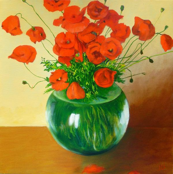 Vase de coquelicots - Huile 40 x 40