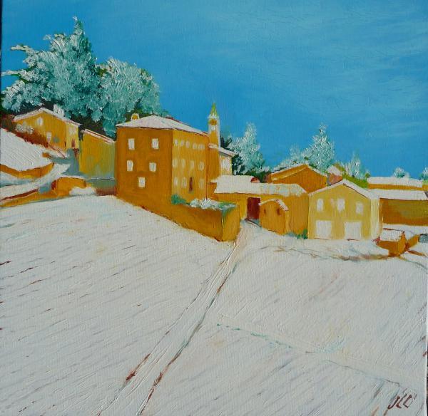 Neige à Clochemerle - 40 x 40 - (2014)