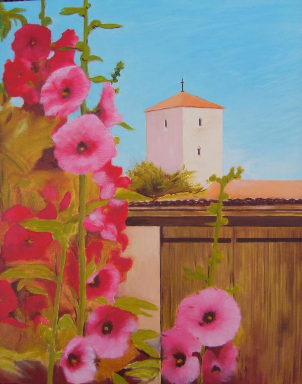 Les roses trémières huile 65 x 33