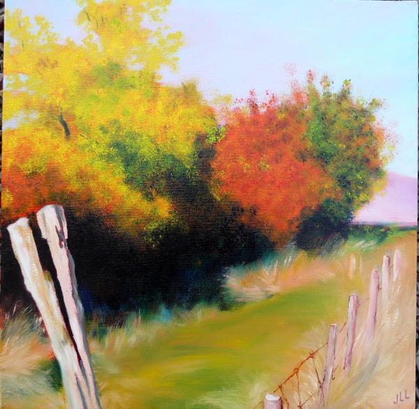Paysage d'automne - huile 40 x 40