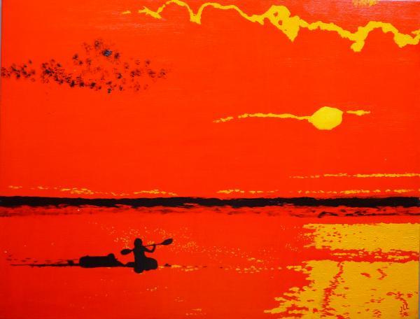 Coucher de soleil à la Réunion - Huile 65 x 54