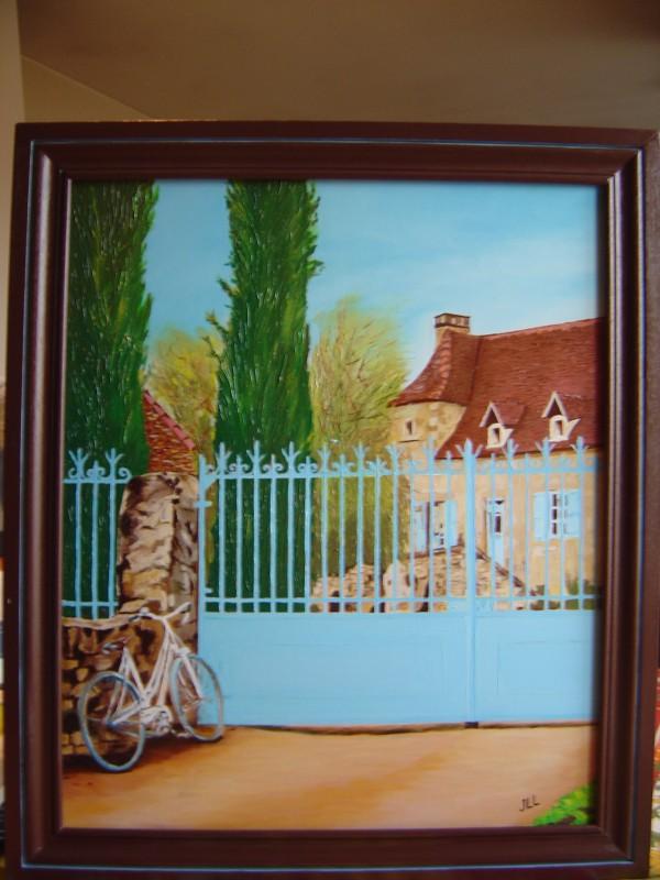 Vélo au portail - huile  55 x 46