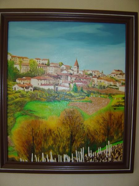 Vue de Clochemerle - Huile 55 x 47